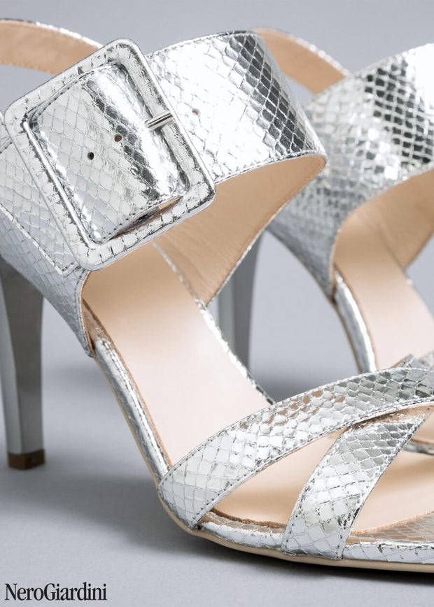 Silver stiletto sandals NeroGiardini E012851DE | Dimario Italian Shoes Perth WA