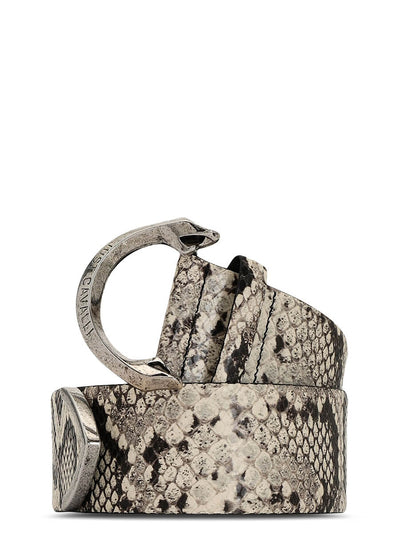 Just Cavalli Python-Print Leather Belt