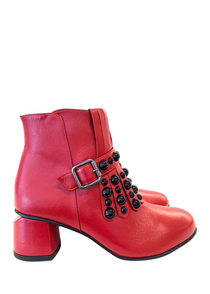 Ankle Boots Nappa Rosso Wedge Heel | Dimario Italian Shoes - Perth WA