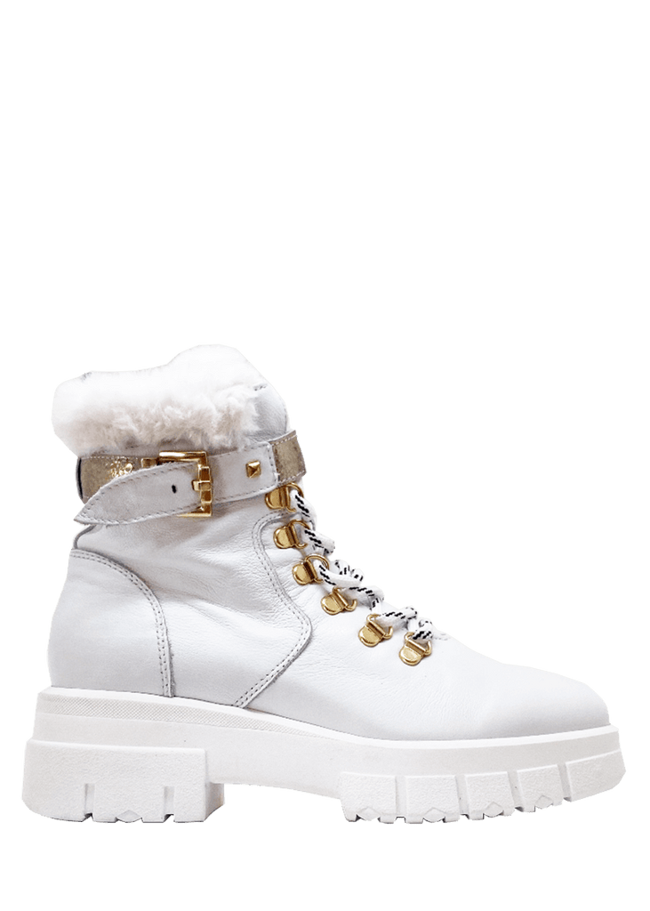 Made in Italy - White Combat Boot - NeroGiardini | Dimario Shoes Perth