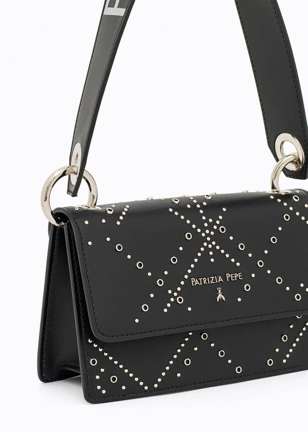 Patrizia Pepe Leather Bag with Studs - Black