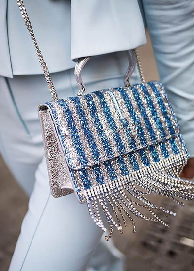 Patrizia Pepe Glittery Crossbody Bag with Rhinestones - Silver/Blue