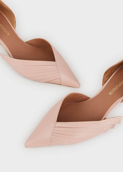 Emporio Armani - Leather court shoes with pleated details [X3E381XF442100660] - Powder Pink