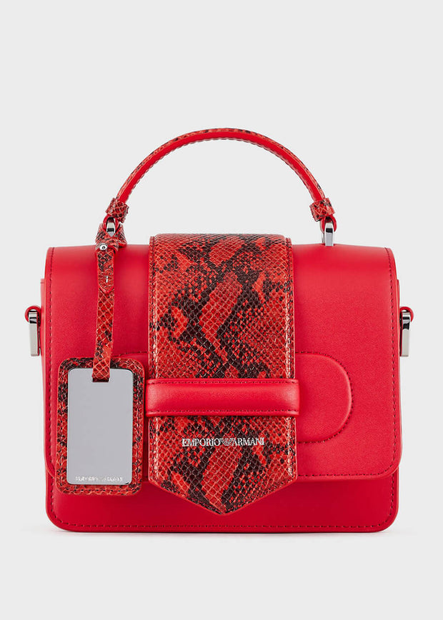 Emporio Armani - Shoulder bag in leather with python inserts in Red [Y3A128YMP4E184264]