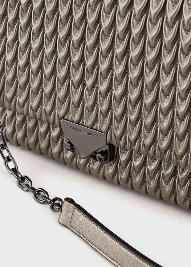 Emporio Armani - Quilted faux Nappa cross-body bag with drop motif in Nude [Y3E063YKT4I180266]
