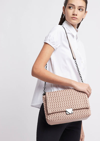 Emporio Armani Perth - Quilted cross-body bag with drop motif in Nude [Y3E063YKT4I180266] - Dimario Shoes Subiaco WA