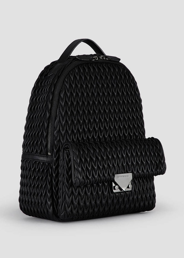 Emporio Armani Perth - Quilted backpack with drop pattern in Black [Y3L019YKT4I180001] - Dimario Shoes Subiaco WA