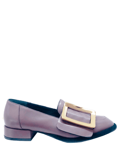 The Nappa Pepe loafer by Lorena Paggi, features a rounded toe, and a bold gold buckle | Italian womens shoes - Perth, WA