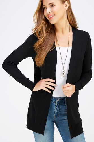 SALE! Black Open Front Cardigan