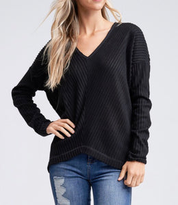 SALE! High Low Solid Black V-Neck Top w/ Dolman Sleeves