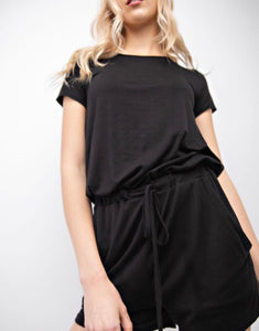 SALE! T-shirt Romper with Bow Back - Black