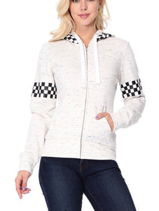 Oatmeal Checkered Zip Up