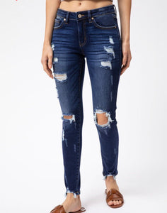 Kan Can Super Distressed Mid Rise Denim
