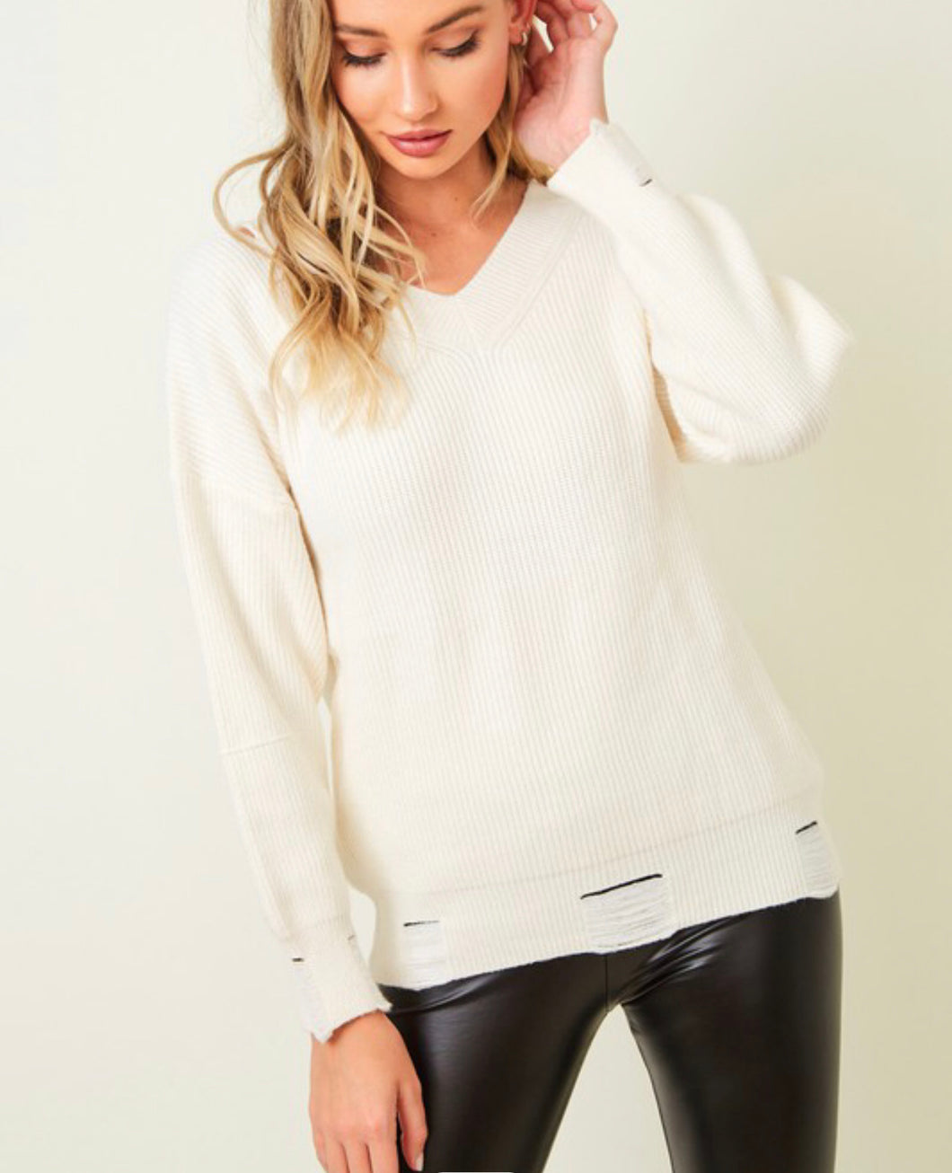 Lightly Distressed Sweater w/ Cut out Shoulder - Ivory