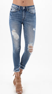 Kan Can Light Wash Distessed Denim w/ Frayed Hem