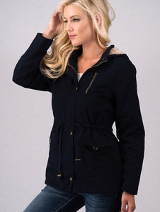 Black Cargo Jacket with Fur Lining