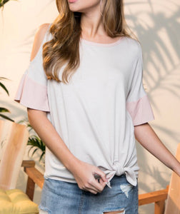 Light Grey and Pink Cold Shoulder w/ Tie Side