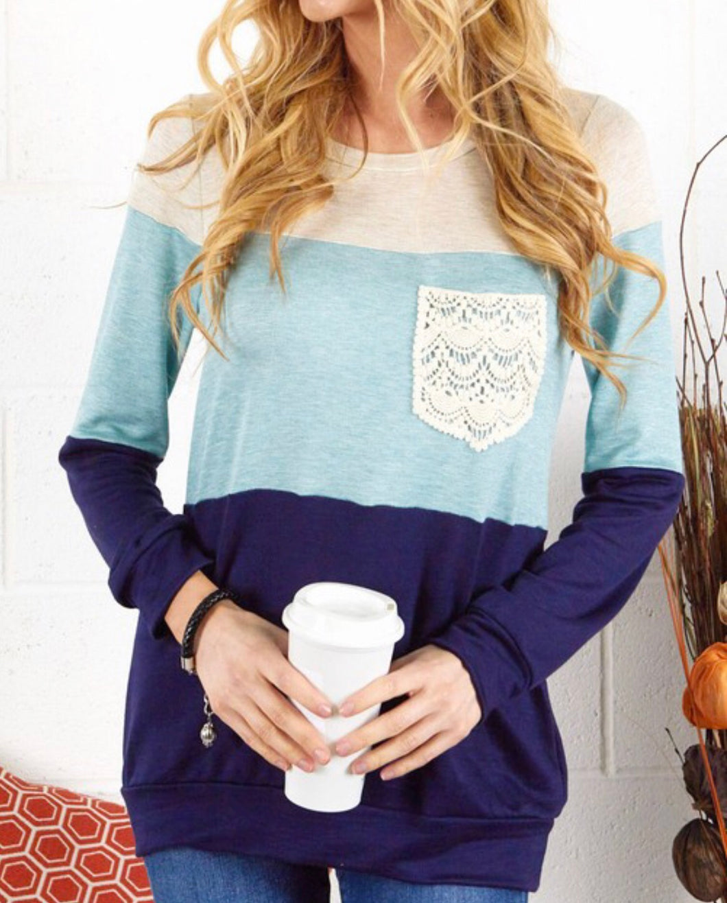 Cool Blue Color Block Sweater w/Lace Pocket