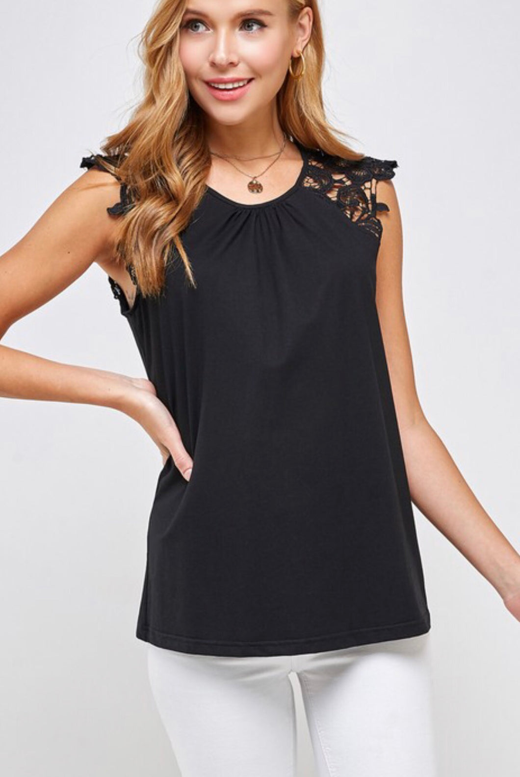 Black Sleeveless Top with Crochet Detail