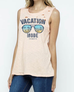 Vacation Mode Distressed Sleeveless Tank