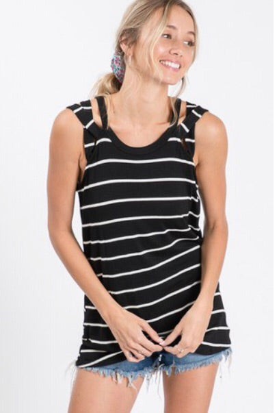 SALE! Black Stripe Criss Cross Tank