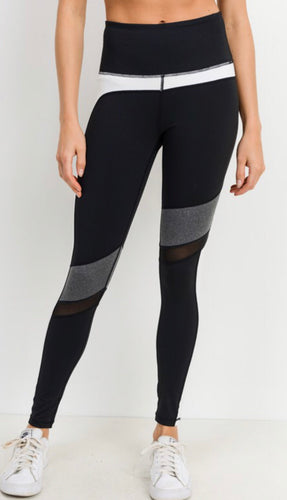 Athletic Leggings - Grey/White/ Black