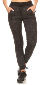 Heathered Black Lined Joggers