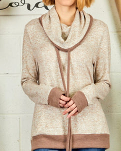 SALE! Brushed Mocha Sweater Cowl Neck