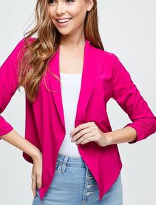 Hot Pink Open Front Blazer w/ Cinched Sleeves