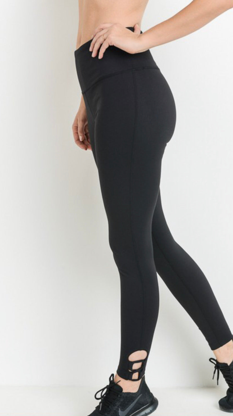 Tummy Control High Waist Leggings Ankle Detail