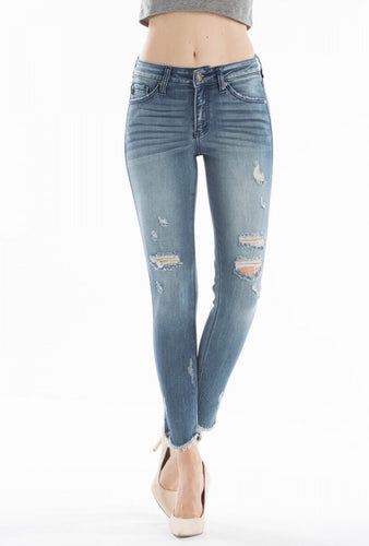 Kan Can Mid Rise Super Skinny Distressed Jeans