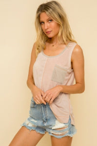 Almond and Pink Color Block Tank