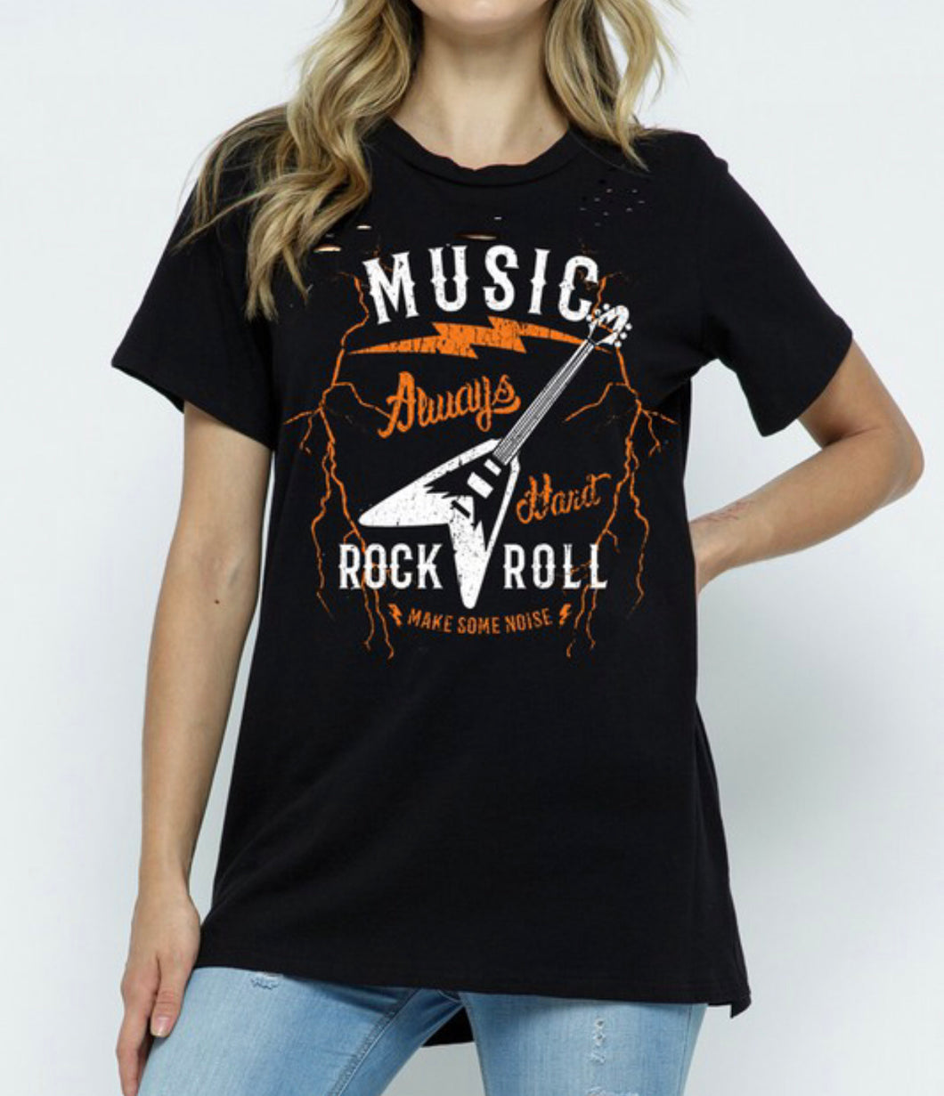 Rock Always Distressed Graphic Tee