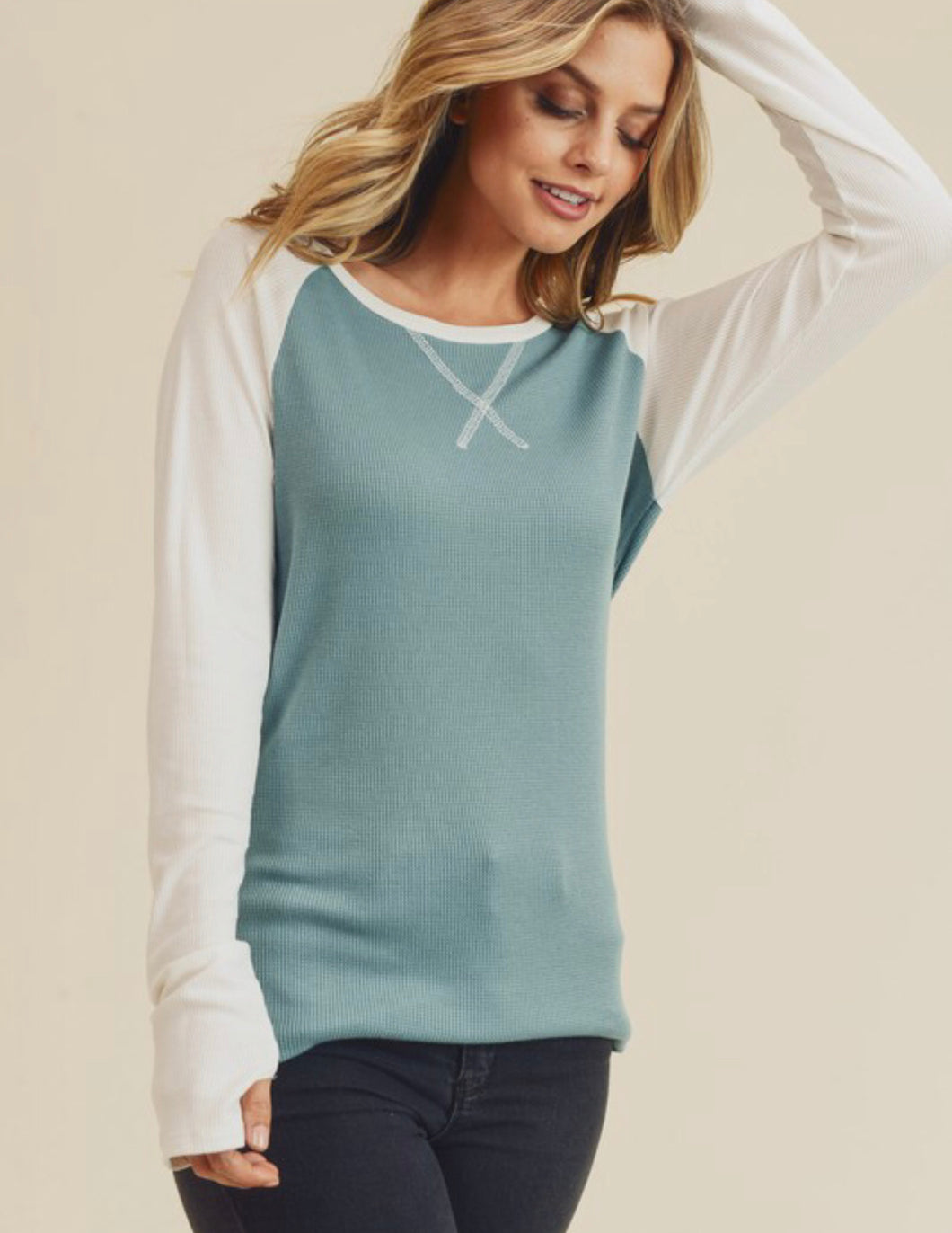 Teal Thermal Baseball Long Sleeve Top