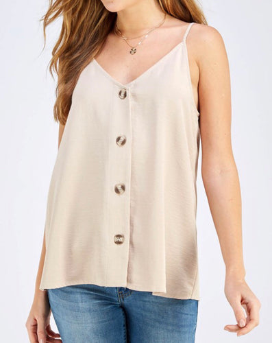 SALE! Button Down Camisole - Sand