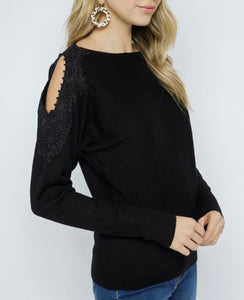 Black Lace Cold Shoulder