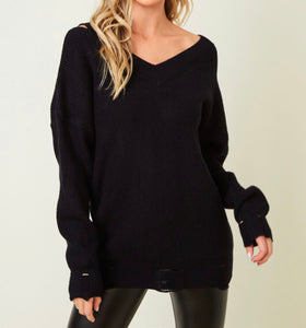 Lightly Distressed Sweater w/ Cut out Shoulder - Black