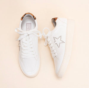 White Sneaker with Star and Leopard Print