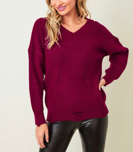 Lightly Distressed Sweater w/ Cut out Shoulder - Wine