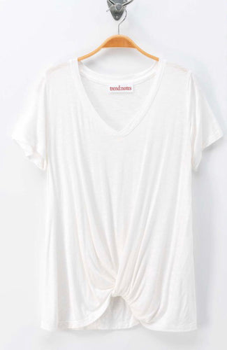 Off White VNeck Tee w/Twist Front