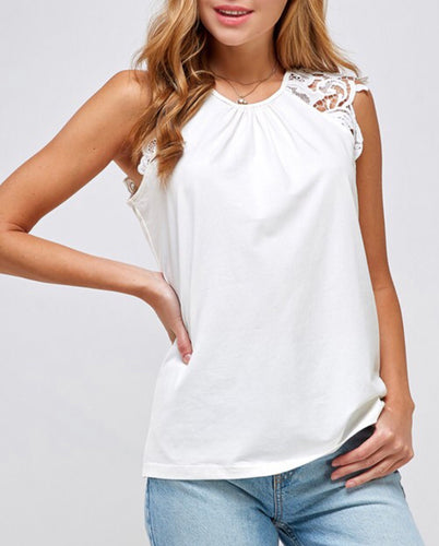 White Sleeveless Top with Crochet Detail