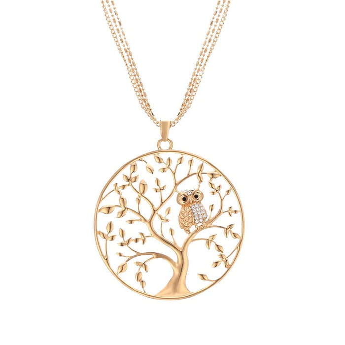 Gold Tree of Life Owl Necklace - Ocloq Shop