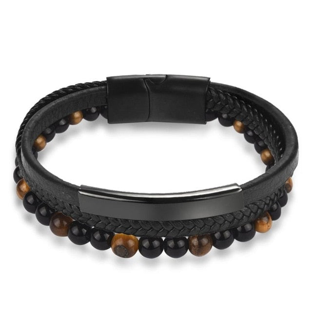 Natural Stone Men Bracelet Black Genuine Leather Magnetic - Ocloq Shop