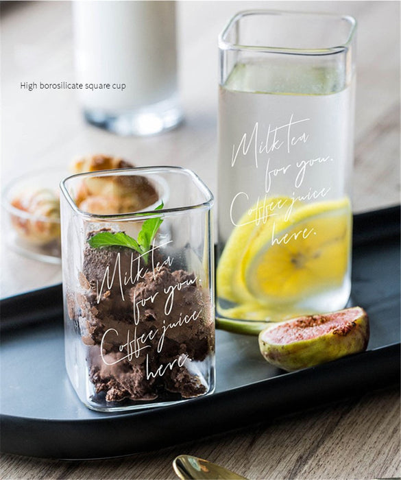 Modern Nordic Transparent Lettering Glass Cup - Ocloq Shop