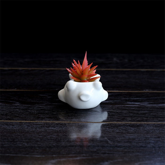 White Ceramic Fish Flower Pots - Ocloq Shop