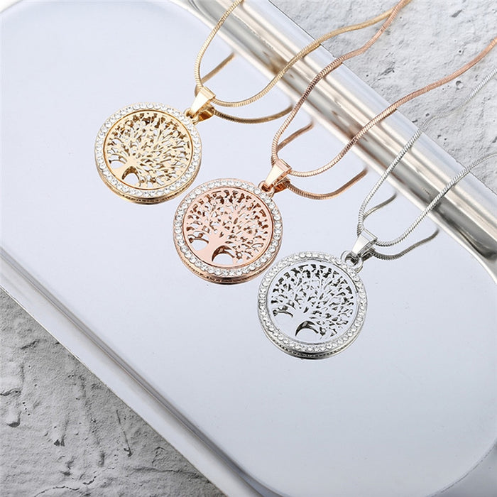 Hot Tree of Life Crystal Round Small Pendant Necklace - Ocloq Shop