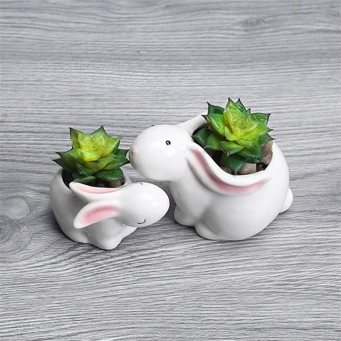 Cute Ceramic Rabbits Flowerpot - Ocloq Shop