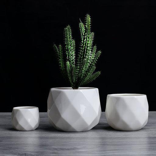 Creative Ceramic Diamond Geometric Flowerpot - Ocloq Shop