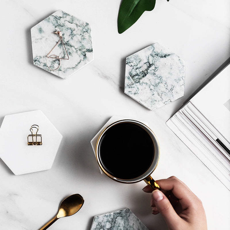 Luxury Marble Coaster Ceramic hexagonal Placemat - Ocloq Shop