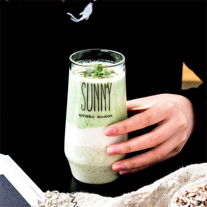 Nordic Transparent Lettering Glass Cup - Ocloq Shop
